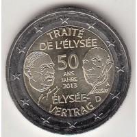 2 евро 2013 год. Германия. 50 лет франко-германскому договору о дружбе и сотрудничестве (А)
