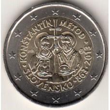 2 евро 2013 год. Словакия. 1150 лет миссии Кирилла и Мефодия.