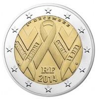 2 евро 2014 год. Франция. Всемирный день борьбы со СПИДом
