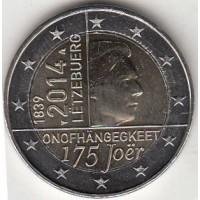 2 евро 2014 год. Люксембург. 175 лет независимости Люксембурга.