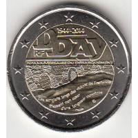 2 евро 2014 год. Франция. 70 лет высадке в Нормандии
