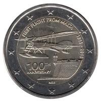 2 евро 2015 год. Мальта. 100 лет первому перелету с Мальты.
