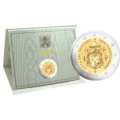 "2 евро 2013 год. Ватикан. ""Вакантный престол Ватикана"" (Белый буклет)"