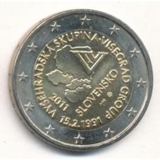 2 евро 2011 год. Словакия. 20 лет формирования Вышеградской группы