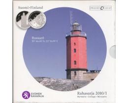 Официальный годовой набор евро монет Финляндия 2010 год. (8 монет) серия - маяки Финляндии.