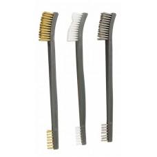 Набор двусторонних щеток с латунной, стальной и пластиковой щетиной (3 штуки)