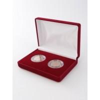 Футляр (102х142х42 мм) на 2 монеты в капсулах (диаметр 44), бордо