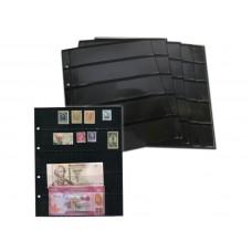 Лист вертикальный на чёрной основе для марок и банкнот 200Х250 мм на 5 ячеек 42х180 мм (формата Optima), двухсторонний