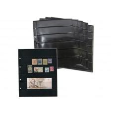 Лист вертикальный на чёрной основе для марок и банкнот 200Х250 мм на 6 ячеек 35х180 мм (формата Optima), двухсторонний