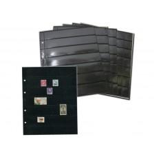 Лист вертикальный на чёрной основе для марок и банкнот 200Х250 мм на 7 ячеек 30х180 мм (формата Optima), двухсторонний