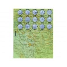 """Разделитель для монет серии """"Города - столицы государств, освобождённые советскими войсками от немецко-фашистских захватчиков"""" на 14 монет"""