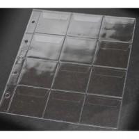 Лист вертикальный для монет 200х250 мм на 12 ячеек 58х60 мм, с клапанами, формат Оптима