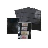 Лист вертикальный двухсторонний для банкнот 245х310 мм на 4 ячейки 225х72 мм на черной основе (формат Grand)
