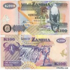 Банкнота Замбия 100 квача 2006 год.