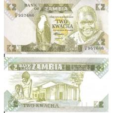 Банкнота Замбия 2 квача 2006 год.