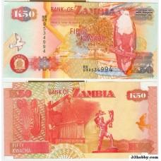 Банкнота Замбия 50 квача 2006 год.