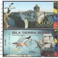 Банкнота Колумбия. Острова Колумбии. 2000 кафетерос 2014 год. Остров Тиерра Бомба. UNC
