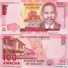 Банкнота Малави 100 квач 2016 год.