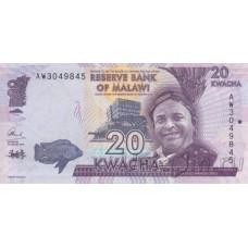 Банкнота Малави 20 квач 2016 год.