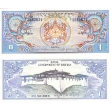 Банкнота Бутан. 1 нгултрум. Пресс