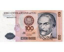 Банкнота Перу 100 инти 1987 год.