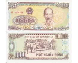 Банкнота Вьетнам 1000 донгов 1988 год. Пресс