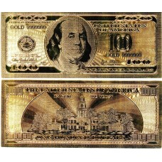 Банкнота 100 долларов США позолота (сувенир) №2