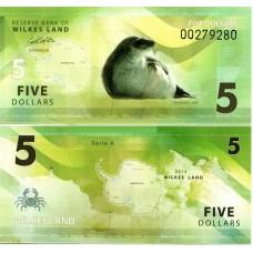 Банкнота Земля Уилкса 5 долларов 2014 год. Антарктический тюлень-крабоед