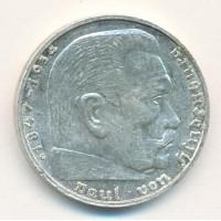 Германия 2 Марки 1938 год. Пауль фон Гинденбург. (G) (свастика)