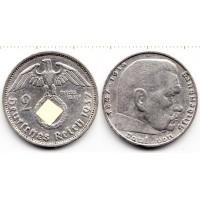 Германия 2 марки 1937 год. Пауль фон Гинденбург. (F) (свастика)