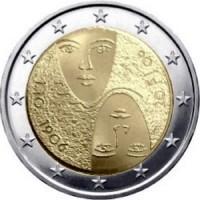 2 евро 2006 год. Финляндия. 100 лет введения в Финляндии универсального и равного избирательного права.
