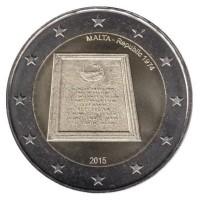 2 евро 2015 год. Мальта. Провозглашение республики.