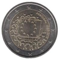 2 евро 2015 год. Португалия. 30 лет флагу Европейского Сообщества.