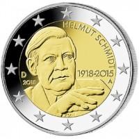 2 евро 2018 год. Германия. 100 лет со дня рождения Гельмута Шмидта. (А)