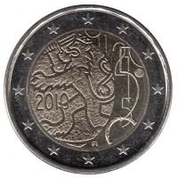 2 евро 2010 год. Финляндия. 150 лет финской валюте.