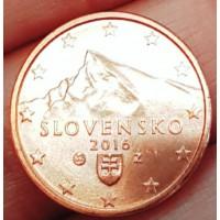 1 евроцент 2016 год. Словакия