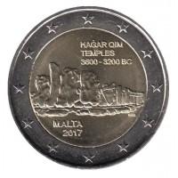 2 евро 2017 год. Мальта. Мегалитический комплекс Хаджар-Ким.