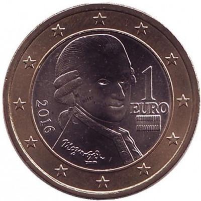 1 Евро 2016 год. Австрия (Портрет Вольфганга Амадея Моцарта)