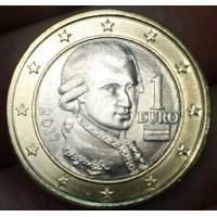 1 Евро 2017 год. Австрия (Портрет Вольфганга Амадея Моцарта)