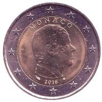2 Евро 2016 год. Монако. Князь Альбер II.