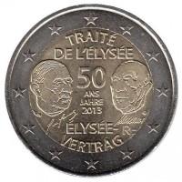 2 евро 2013 год. Франция. 50 лет Елисейскому Договору.