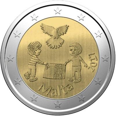 2 евро 2017 год. Мальта. Мир - солидарность к детям