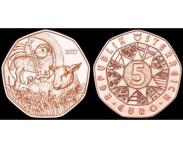 5 евро 2017 год. Австрия. Пасхальный ягненок