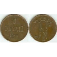 5 пенни 1913 год. Русская Финляндия
