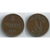 5 пенни 1916 год. Русская Финляндия