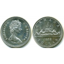 1 доллар 1972 год. Канада. Каноэ, индейцы, серебро