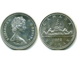 1 доллар 1971 год. Канада. Каноэ, индейцы, серебро