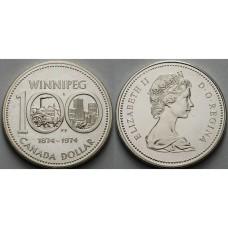 1 доллар 1974 год. Канада. 100-летие города Виннипег, серебро