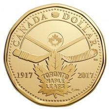 1 доллар 2017 год. Канада. 100 лет хоккейному клубу Toronto Maple Leafs