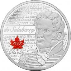 25 центов 2013 год. Канада. Шарль-Мишель де Салаберри. (Цветная эмаль).